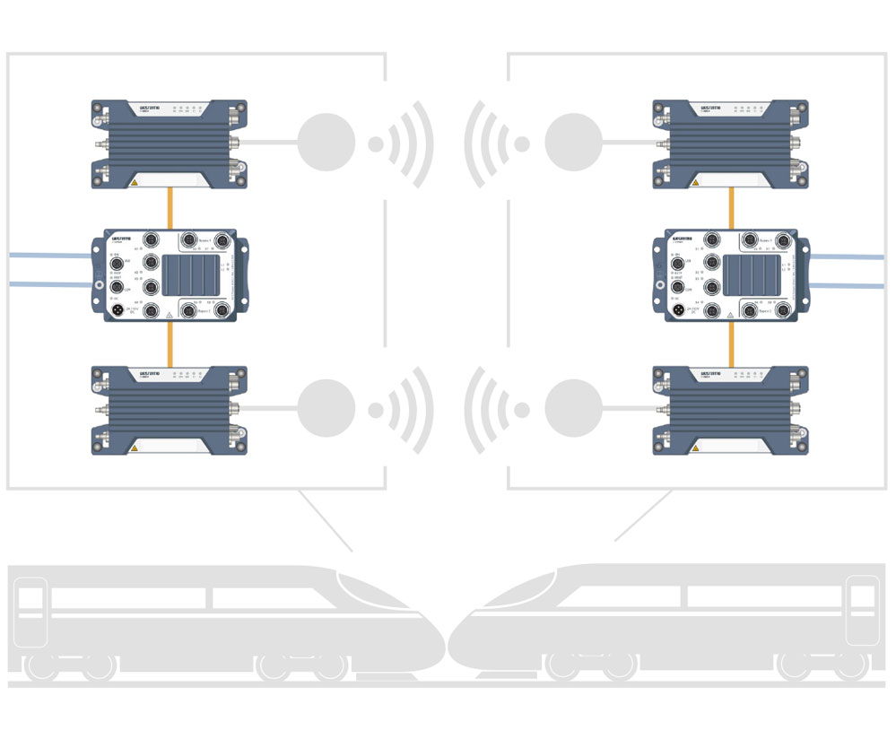 Wireless train to train connection illustration.