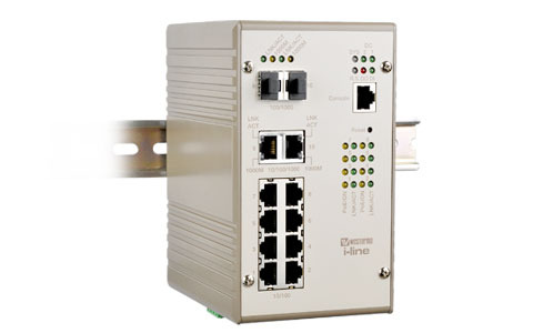 Managed 8 port Industrial PoE Gigabit Switch PMI-110-F2G by Westermo.