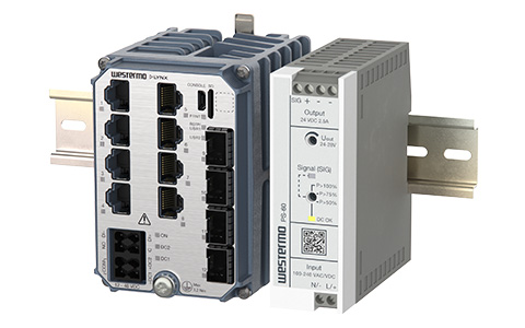 Right view of the Westermo PS-60 Power Supply and Lynx-5612 Substation Automation Ethernet Switch.