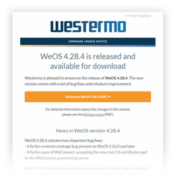 WeOS newsletter by Westermo